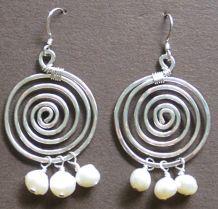 Large Silver Spirals (white)