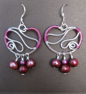 Silver Squiggle Loops (purple)